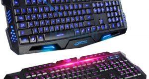 Multimedia 3 colors LED Backlight USB Wired Illuminated Gaming Keyboard PC Black 6