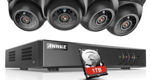 SANNCE 4CH 1080N CCTV DVR 1500TVL Outdoor IR CUT Camera Home Security System 1TB 6