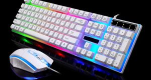 LED Rainbow Color Backlight Adjustable Gaming Game USB Wired Keyboard Mouse Set 4