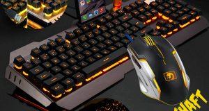 Computer Desktop Gaming Keyboard and Mouse Mechanical Feel Led Light Backlit US 1